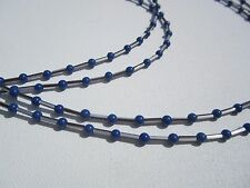 Four-Strand Lapis Blue Beads w/B&W Striped Bugles Necklace and Earrings Set