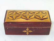 Vintage Soviet Lacquered Wooden Box Rafia Marquetry Inlay 1970s.