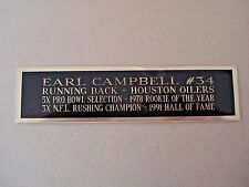 Earl Campbell Oilers Engraved Nameplate For A Football Mini Helmet Case 1.5 X 6