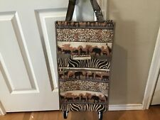 Jade Tapestry Safari Collapsible Foldable Shopping Travel Bag Cart With Wheels