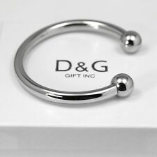 "NEW DG Gift Inc Men's Stainless Steel 7"" Round Cuff Bangle Bracelet Unisex + Box"