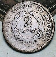 1864 Two Cent Piece 2C Ungraded Choice Worn Civil War Date US Copper Coin CC7075