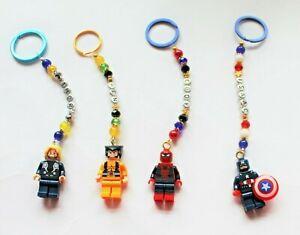 Personalised Superhero's  keyring / Bag Charm ( you chose the name), 4 designs.