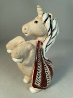ARTESANIA RINCONADA, URUGUAY, FIGURINE OF A UNICORN HORSE, DARK RED BLANKET