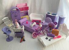 Barbie Furniture 33 Piece Lot Mattel Pink & Purple Accessories Grand Hotel Desk