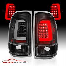 Fit 97-04 Dodge Dakota Pickup C-Bar LED Black Replacement Tail Lights Brake Lamp