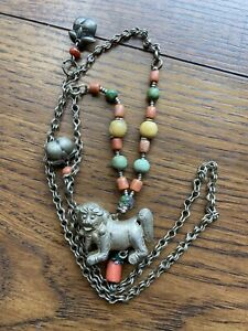 Qing Dynasty Antique Silver Chatelaine Pendant Necklace Coral Turquoise Foo Dog