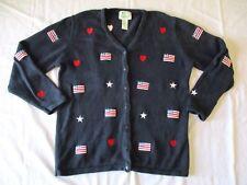 Quacker Factory Womens Medium Stars Stripes Flag Patriotic Cardigan Sweater