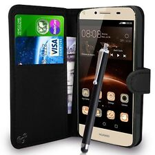 "Black Wallet Case PU Leather Book Cover For Huawei Y6 II Compact (5"") LYO-L01"