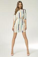 Nife Short 3/4 Sleeve Striped Fully Lined Dress Size 10 Uk BNWT RRP €159 Multi