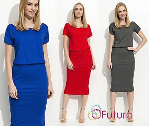 Ladie's knielanges Kurzarm Kleid mit elastischer Taille 8-14 UK Größe FM105