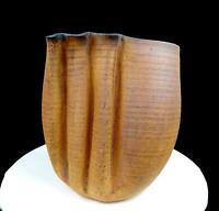 "STUDIO ART POTTERY METCALF SIGNED BROWN STONEWARE WHEEL THROWN WRINKLED 10"" VASE"