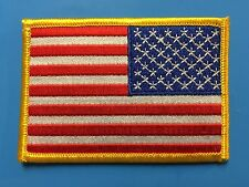 """REVERSE USA AMERICAN FLAG EMBROIDERED PATCH IRON / SEW-ON GOLD BORDER (3½ x 2¼"""")"""