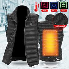 Men Electric USB Heated Vest Warm Heating Coat Jacket Outdoor Winter Body Warmer