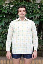 Herren Hemd shirt weiß white grün gelb green yellow 70er True VINTAGE 70´s men