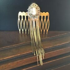 Bridal hair comb with vintage cameo costume jewelry piece, long fringe