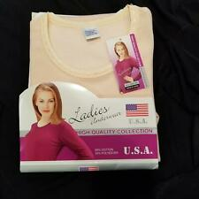Vintage Womens Underwear Shirt SZ L Pink Thermal Circular Knit Long Sleeve New