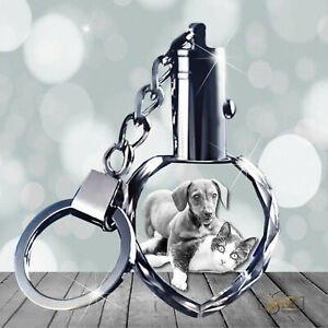 2D Crystal Photo Gift - Heart Keychain with changing LED Light