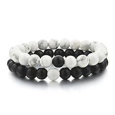 Distance Bracelets for Lovers-2pcs Black Matte Agate White Howlite 8mm Beads