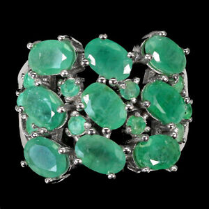 Unheated Oval Emerald 6x4mm 14K White Gold Plate 925 Sterling Silver Ring Size 9