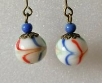 Antique Art Deco Czech Glass Feathered Blue Red White Bead Drop Dangle Earrings
