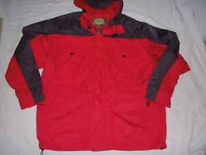 Cabelas Red Mens Hooded Lined Nylon Packable Jacket sz XL