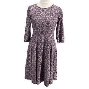 Womens Pretty Vacant purple fox print fit & flare tea dress, UK Size 10, EXC CON