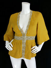 Ingwa Melero Sz 6 M Mustard Yellow Linen Crochet Trim Hook Front Blouse Top