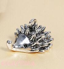 4 x Pretty Cute Hedgehog Antique Silver Tone Charms 21x10mm FREE P/&P
