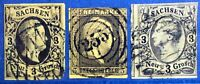 SAXE ALLEMAGNE SACHSEN LOT 3 TIMBRES GERMANY SAXONY STAMPS YELLOW