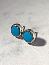 Round Turquoise Earrings Vintage Sterling Silver