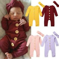 Newborn Infant Baby Girls Boys Cozy Button Long Sleeve Romper Jumpsuit Outfits
