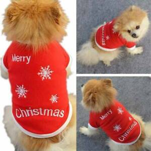 Pet Dog Xmas Jumper Coat Santa Clothes Puppy Sweater Apparel Cos Costume Outfits