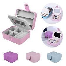 Womens Travel Portable Jewellery Box Organizer Mirror Drawers Jewel Storage Case