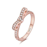 Rose Gold Bow Ring with Crystal Inlay Size L O P R ( 51 to 58) Gift Bag