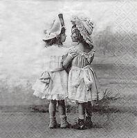2 Motivservietten Servietten Napkins Tovaglioli Shabby Vintage 2 Mädchen (514)