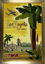 MAGNET Travel Poster Photo Magnet LOS ANGELES Fly TWA Palm Trees Mission