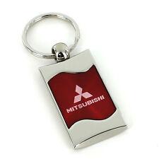 Mitsubishi Red Spun Brushed Metal Key Ring