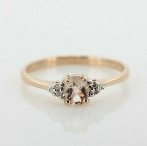 9ct Rose Gold Morganite and Diamond Cluster Ring (Size L, US 5 3/4)