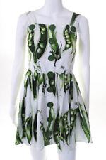Dolce and Gabbana Womens Dress Italian 36 White Green Cotton Pea Pod Print Mini