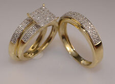 His And Her Diamond Bridal Sets Yellow Gold Plated Wedding Engagement Trio Ring