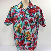 Waikiki 76 Mens Hawaiian XL Shirt Hibiscus Anthurium Plumeria Ginger Protea Vtg