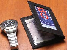MEN'S BLACK SLIM FOLD GENUINE LEATHER WALLET BUSINESS ID/CREDIT CARD HOLDER