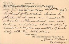 """The Texas Stockman And Farmer"", San Antonio, Texas TX 1897"