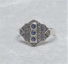 Genuine Blue Sapphire Marcasite Vintage Art Deco Ring Sz 10 Sterling Silver 925