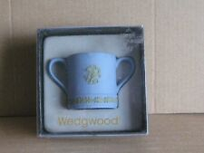 Wedgwood Jasperware Blue & Sage Green Miniature Two Handle Loving Cup