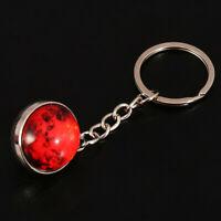 Glass Ball Pendant Keychain Solar System Planet Galaxy Handbag Keyring Keyfob LD