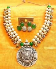 Indian Tribal Pearl Necklace Earrings/Tribal Navratri Necklace Set/Pearl Set