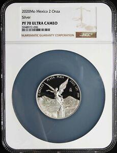 Mexico 2020 2 oz Silver PROOF LIBERTAD, NGC PF70 UC. Perfect grade!!
