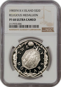 1985-FM B.V.ISLAND SILVER 20$ RELIGIOUS MEDALLION NGC PF 68 UC ONLY 2 HIGHER
